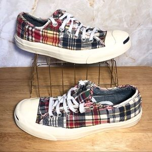CONVERSE Jack Purcell plaid Sneakers sz 6.5